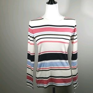 Talbots 100% Cotton Stripped Long Sleeve Tee